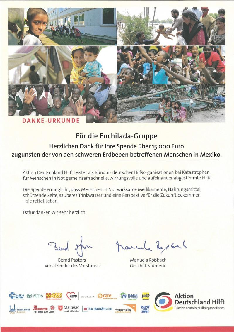 Spendenurkunde Aktion Deutschland Hilft